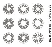 set of monochrome icons with... | Shutterstock .eps vector #673431883