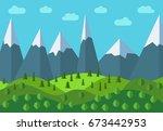panoramic mountain cartoon... | Shutterstock . vector #673442953