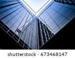 abstract glass building with... | Shutterstock . vector #673468147