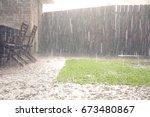 view of heavy rains in backyard | Shutterstock . vector #673480867