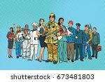 fireman doctor secretary... | Shutterstock .eps vector #673481803