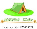 summer camp tent on green lawn. ... | Shutterstock .eps vector #673485097