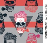 seamless pattern in pop art... | Shutterstock .eps vector #673488643