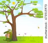 funny monster under the summer... | Shutterstock . vector #673515973