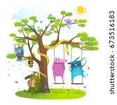 tree friends animals birds... | Shutterstock . vector #673516183