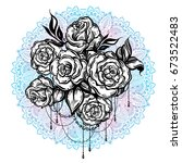 hand drawn beautiful roses over ...   Shutterstock .eps vector #673522483