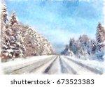 Watercolor Winter Landscape ...