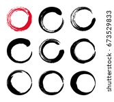set of hand painted ink circles.... | Shutterstock . vector #673529833