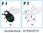 letter f. fly. alphabet... | Shutterstock .eps vector #673543573