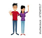 young happy couple parent or... | Shutterstock .eps vector #673569517