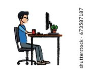 young man working on computer... | Shutterstock .eps vector #673587187