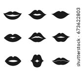 lips black shape icon and... | Shutterstock .eps vector #673622803
