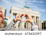young woman tourist making... | Shutterstock . vector #673632397