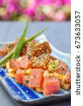 Small photo of Dices fresh ahi tuna with onions and sprinkled with furikake seasoning