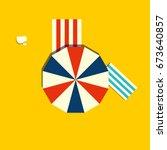 beach parasol or sun umbrella...   Shutterstock .eps vector #673640857