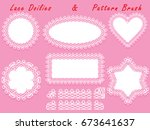 set of lacy frames napkins and... | Shutterstock .eps vector #673641637