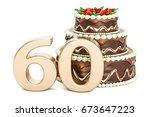 chocolate birthday cake with... | Shutterstock . vector #673647223