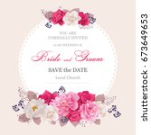 wedding invitation cards with... | Shutterstock .eps vector #673649653