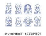 line icons with young hipsters | Shutterstock .eps vector #673654507