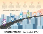 timeline infographic road... | Shutterstock .eps vector #673661197