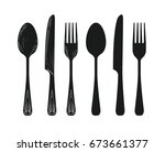 tableware such as spoon  knife  ... | Shutterstock .eps vector #673661377