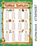times tables chart with animals ... | Shutterstock .eps vector #673696087