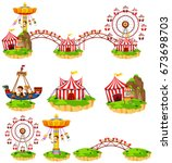 different rides at amusement... | Shutterstock .eps vector #673698703