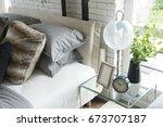 modern nordic style bedroom... | Shutterstock . vector #673707187