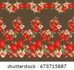 pretty vintage feedsack border... | Shutterstock . vector #673715887
