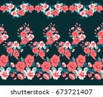 pretty vintage feedsack border... | Shutterstock . vector #673721407