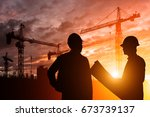 silhouette teams engineer... | Shutterstock . vector #673739137