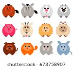 cute farm animals isolated icon ... | Shutterstock .eps vector #673758907