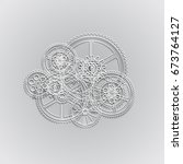 drawing gears on a gray... | Shutterstock .eps vector #673764127