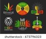 reggae logos. vector badges for ... | Shutterstock .eps vector #673796323