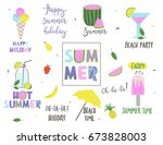 summer set with lettering and... | Shutterstock .eps vector #673828003