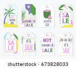 summer sale labels and gift... | Shutterstock .eps vector #673828033