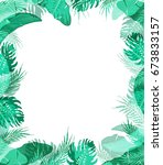 cute trendy frame with summer... | Shutterstock . vector #673833157