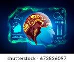 abstract futuristic brain...   Shutterstock .eps vector #673836097