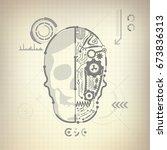 concept of blueprint of a.i.... | Shutterstock .eps vector #673836313