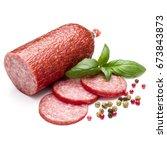 salami smoked sausage  basil... | Shutterstock . vector #673843873