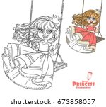 beautiful princess riding on a... | Shutterstock .eps vector #673858057