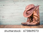 wild west retro leather cowboy... | Shutterstock . vector #673869073