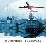 global business of container... | Shutterstock . vector #673869163