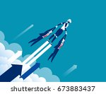 growth. robot to success.... | Shutterstock .eps vector #673883437