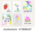 summer cards vector collection. ... | Shutterstock .eps vector #673888267