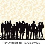 vector silhouette of a crowd of ... | Shutterstock .eps vector #673889437