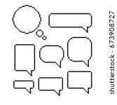 pixel  speech bubble set mosaic ... | Shutterstock .eps vector #673908727