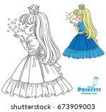 beautiful princess girl blows... | Shutterstock .eps vector #673909003