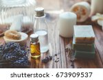 natural spa products and decor... | Shutterstock . vector #673909537