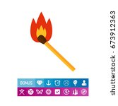 burning match icon | Shutterstock .eps vector #673912363
